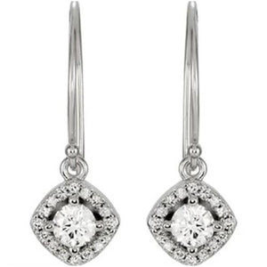 Halo-Styled Diamond Dangle Earrings 1.62 Carats 14K White Gold Dangle Earrings