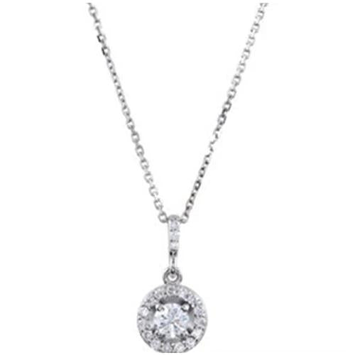 Halo-Styled Diamond Pendant Or Necklace 1.50 Carats 14K White Gold Pendant