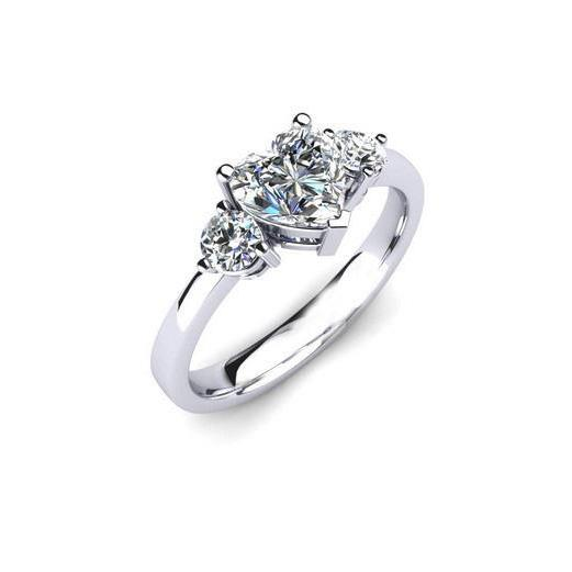 Heart And Round Cut 2.40 Ct Diamonds Engagement Ring Three Stone White Gold 14K Three Stone Ring