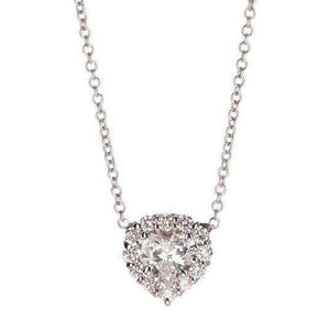 Heart And Round Diamond Ladies Necklace Solid White Gold Jewelry 5 Ct Necklace