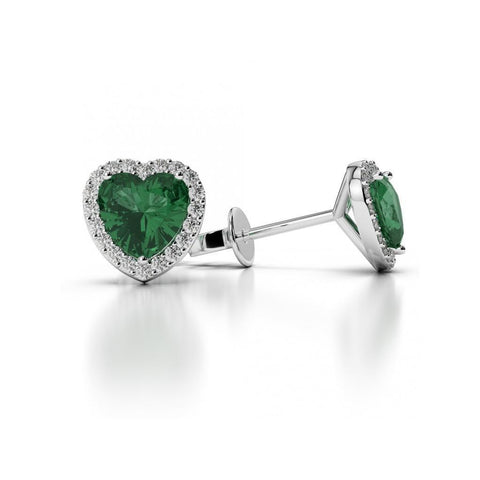 Heart Cut 5.30 Ct Green Emerald With Diamonds Studs Halo Earrings Gold Gemstone Earring