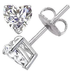 Heart Cut Diamond Stud Earrings 2 Carats Prong Setting Stud Earrings