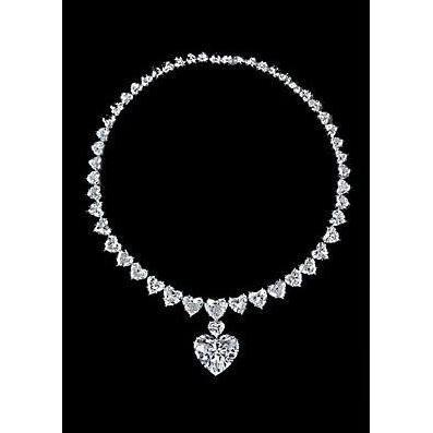 Heart Cut Diamond Tennis Necklace Pendant White Gold Jewelry 29 Ct Pendant
