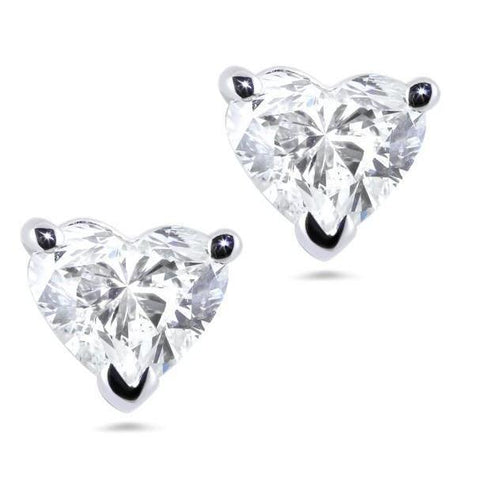 Heart Cut Sparkling 2.50 Ct Diamonds Women Studs Earring White Gold Stud Earrings