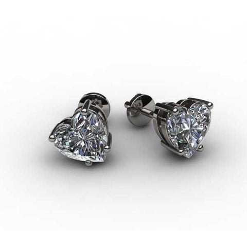 Heart Diamonds 2.00 Carats Lady Studs Earrings 14K White Gold Stud Earrings