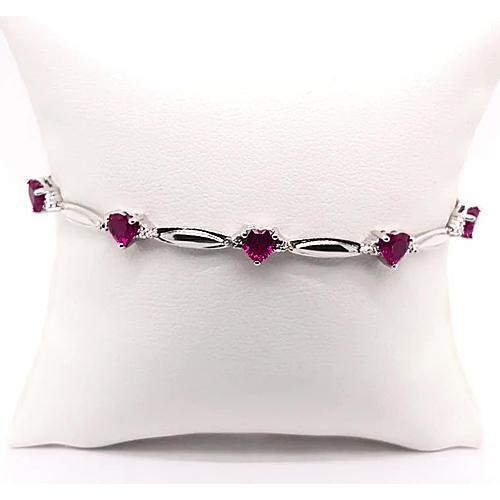Heart Shape Rhodolite Garnet Diamond Bracelet White Gold 9.54 Carats Jewelry New Gemstone Bracelet