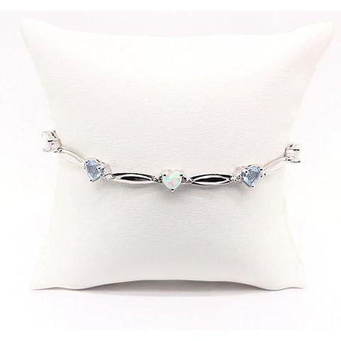 Heart Shaped Aquamarine & Opal Diamond Bracelet 9.54 Carats White Gold 14K Gemstone Bracelet