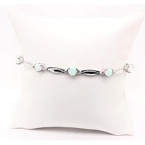 Heart Shaped Opal Diamond Bracelet 9.54 Carats White Gold 14K Jewelry Gemstone Bracelet