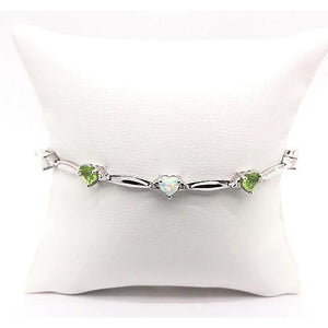 Heart Shaped Peridot & Opal Diamond Bracelet 9.54 Carats F Vs1 Aaa White Gold 14K Gemstone Bracelet
