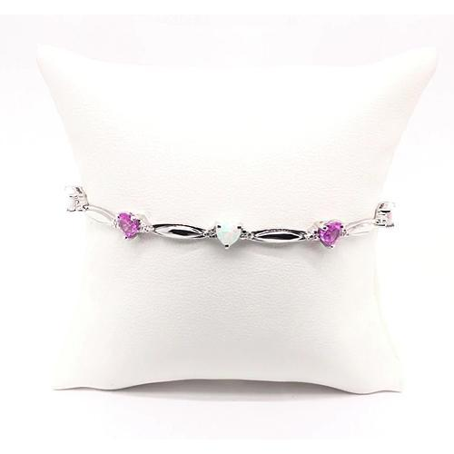 Heart Shaped Pink Amethyst And Opal Diamond Bracelet 9.54 Carats White Gold 14K Jewelry Gemstone Bracelet