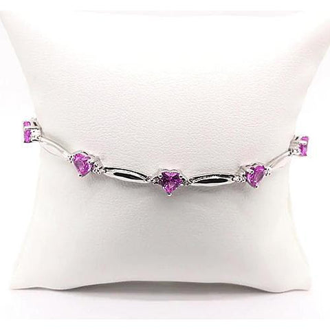 Heart Shaped Pink Amethyst Diamond 9.54 Carats Bracelet White Gold F Vs1 AAA New Gemstone Bracelet