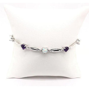 Heart Shaped Purple Amethyst And Opal Diamond Bracelet 9.54 Carats White Gold 14K Jewelry Gemstone Bracelet