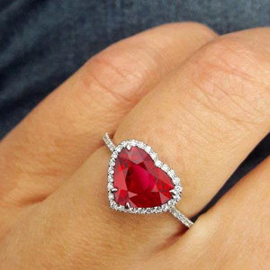 Heart Shaped Ruby And Accents Diamond Ring White Gold 14K 5.35 Ct Gemstone Ring