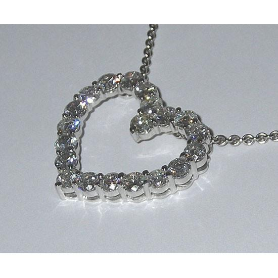 Heart Style Pendant Diamonds Women Necklace Love 5.01 Carats Pendant