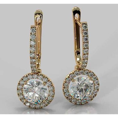 Hoop Earrings Round Diamond 4.50 Carats 2.35 Inches Drop Earrings