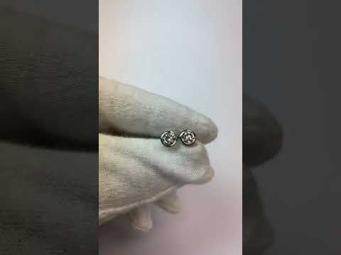 Round Bezel Set Diamond Stud Earring 1 Carat