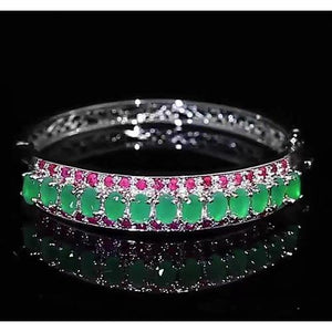 Jade Diamond Bangle Pink Sapphire 28.90 Carats Women White Gold Jewelry Gemstone Bracelet
