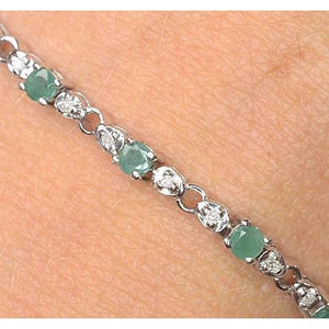 Jade Diamond Tennis Bracelet Prong Set 9 Carats White Gold 14K Jewelry Gemstone Bracelet