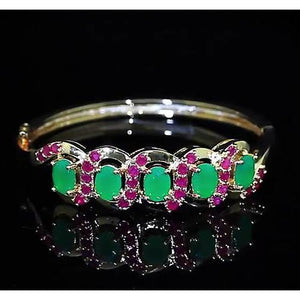 Jade Women Bracelet Pink Sapphire 28.90 Carats Yellow Gold Jewelry New Gemstone Bracelet
