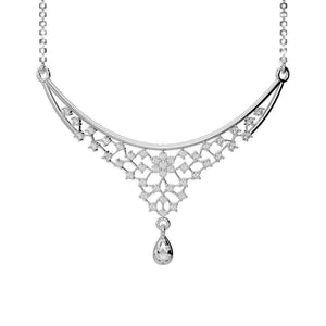 Ladies Chain Necklace Round Cut 2.50 Carats Diamonds White Gold 14K New Chains Necklace