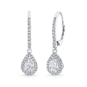Ladies Dangle Earrings 4.80 Carats Sparkling Diamonds White Gold 14K Dangle Earrings