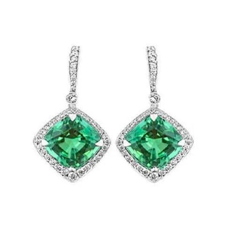 Ladies Dangle Earrings 6 Ct Emerald With Diamonds White Gold 14K Gemstone Earring