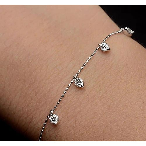 Ladies Diamond Bracelet Prong Set 1.50 Carats White Gold 14K Jewelry Tennis Bracelet