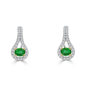 Ladies Drop Earrings 5.90 Carats Emerald And Diamonds White Gold 14K Gemstone Earring