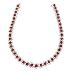 Ladies Necklace 28.50 Ct Ruby And Diamonds White Gold 14K Gemstone Necklace