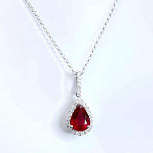 Ladies Red Pear Cut Ruby And Diamond Necklace Pendant White Gold 14K Gemstone Pendant