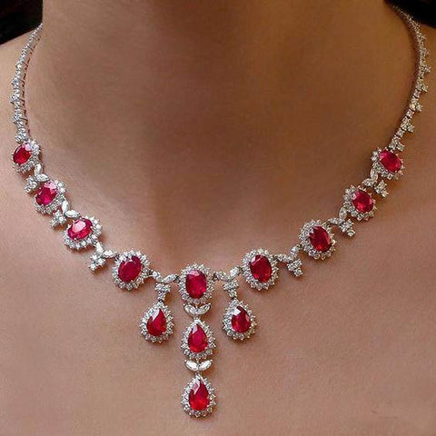 Ladies Ruby With Diamonds Necklace 48.00 Ct White Gold 14K Gemstone Necklace