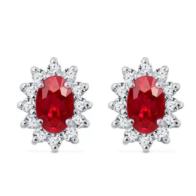 Ladies Studs Earrings 7.50 Carats Ruby And Diamonds White Gold 14K Cluster Halo Gemstone Earring