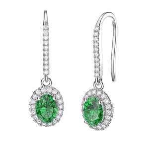 Lady Dangle Earrings 6.50 Carats White Gold 14K  Emerald And Diamonds Gemstone Earring