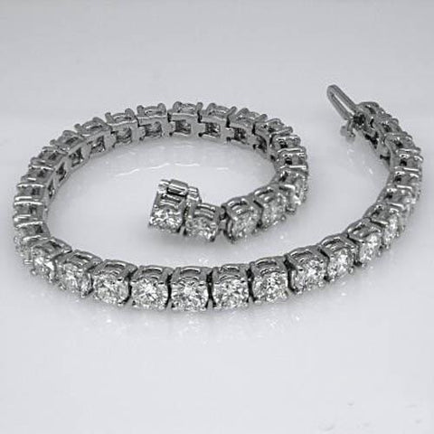 Lady Tennis Bracelet 16.5 Carats Round Cut Diamond White Gold Fine Tennis Bracelet