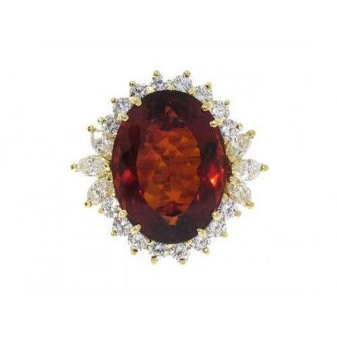 Madeira Oval Citrine And Diamond Ring Yellow Gold 14K Jewelry 29.50 Ct Gemstone Ring