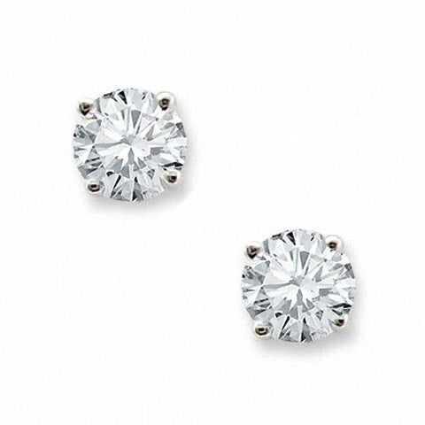 Man Made Diamond Stud Earrings 3 Carats Prong Set White Gold Jewelry Stud Earrings