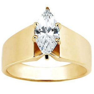 Marquise 1 Carat E Vvs1 Excellent Cut Diamond Solitaire Engagement Ring Yellow Gold New Solitaire Ring