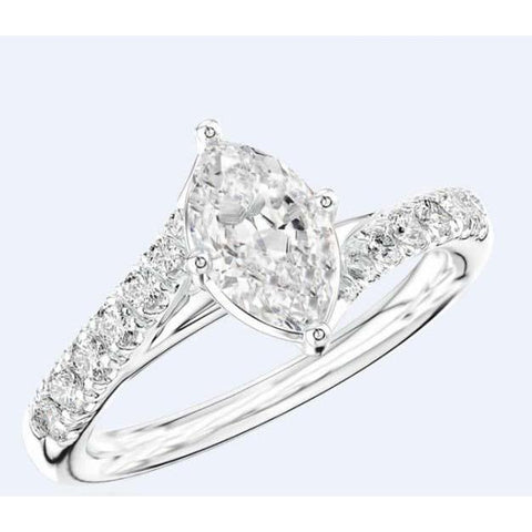 Marquise And Round Cut 3.25 Ct. Diamonds Wedding Ring Gold White 14K Solitaire Ring with Accents