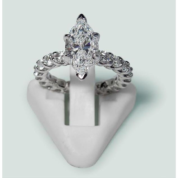Marquise And Round Diamond Engagement Ring White Gold 14K 2.75 Carats Engagement Ring