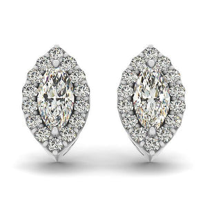Marquise And Round Halo Diamond Stud Earring 3.20 Carats Solid White Gold Halo Stud Earrings