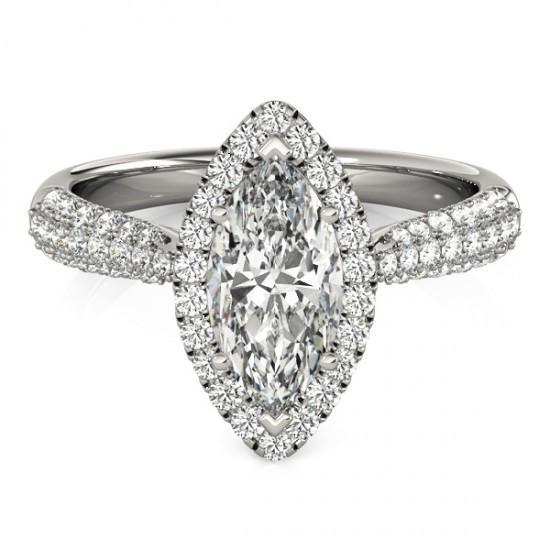 Marquise Center Diamond 2.25 Cts. Engagement Fancy Ring Halo Solid Gold 14K Halo Ring