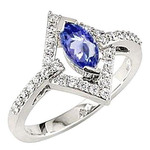 Marquise Ceylon Blue Sapphire And Diamonds White Gold Ring 4.51 Carat Gemstone Ring