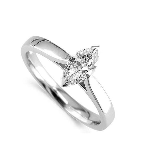 Marquise Cut 1.60Ct Solitaire Diamond Anniversary Ring Gold White 14K Solitaire Ring