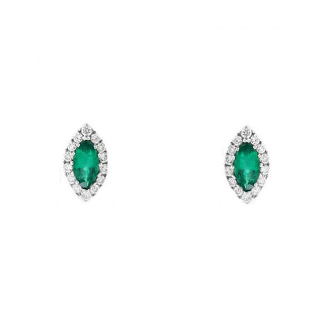 Marquise Cut Emerald With Round Diamonds 4.80 Ct. Studs Halo Earrings White Gold 14K Gemstone Earring