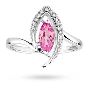 Marquise Cut Pink Sapphire And Diamond Ring Gold Jewelry Gemstone Ring