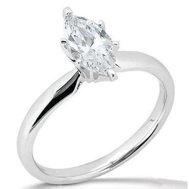Marquise Cut Solitaire Diamond Engagement Ring White Gold 14K Solitaire Ring