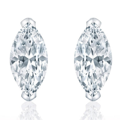 Marquise Cut Sparkling 4 Carats Diamonds Stud Earring White Gold 14K Stud Earrings