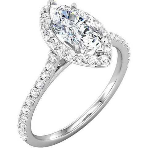 Marquise & Round Brilliant Diamonds 2.51 Carat Halo Engagement Ring White Gold 14K Halo Ring
