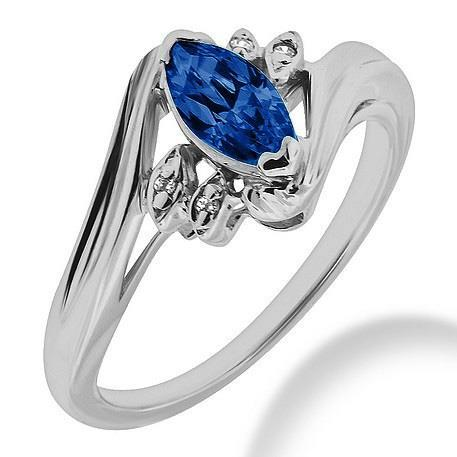 Marquise Sapphire With Round Diamonds 2.20 Ct. Ring White Gold 14K Gemstone Ring