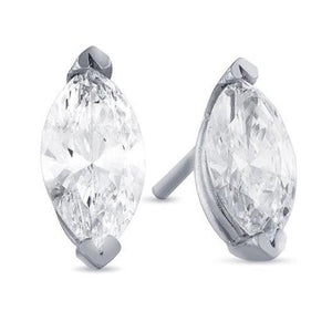 Marquise Shaped Diamond Stud Earrings 6 Carats White Gold 14K Stud Earrings
